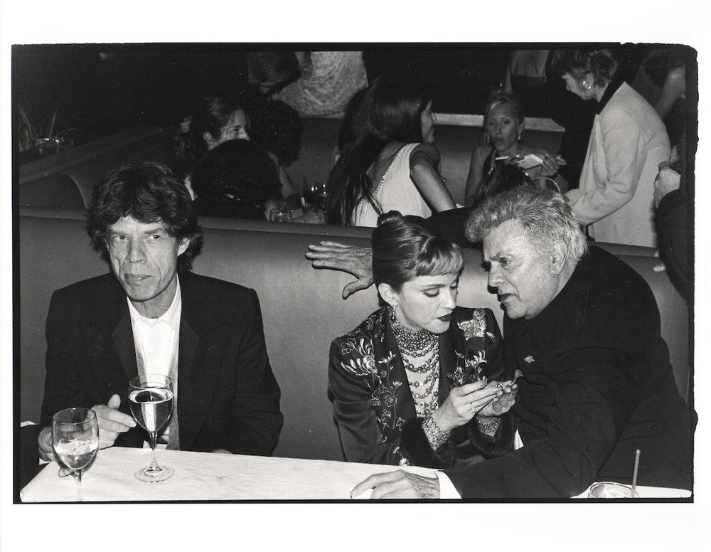 Mick Jagger, Madonna & Tony Curtis at the Vanity Fair Oscar Night Party