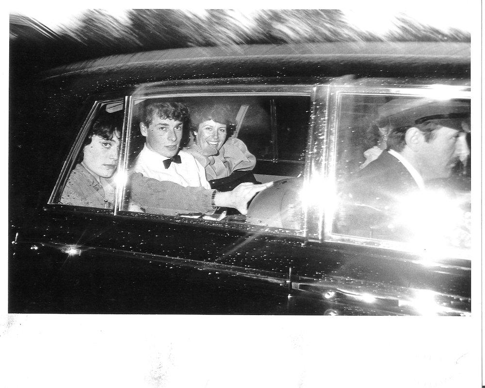 Natasha Fraser and Benjamin Fraser leaving a party at dawn given by John Aspinall at Port Lympne, 1981.