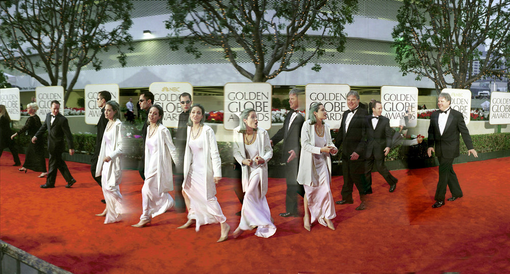 Angelina Jolie arriving at Golden Globes. Beverley Hilton Hotel, Los Angeles 2000 © Photograph Copyright Dafydd Jones