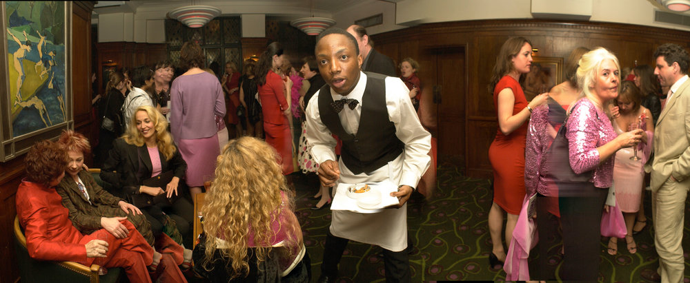 Zoe Wannamaker; Jerry Hall; waiter.
