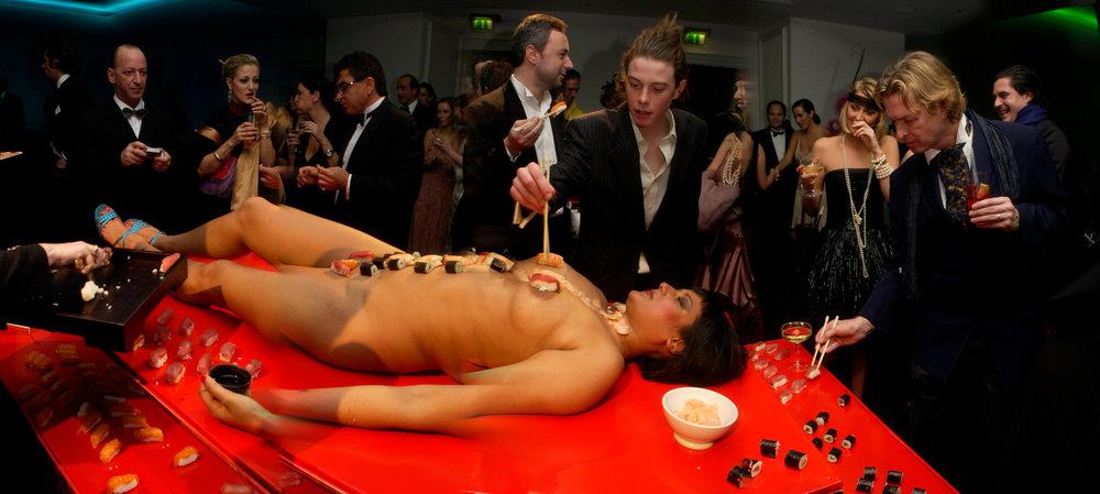 naked sushi;  Amanda from Playtime Platter lying on the table