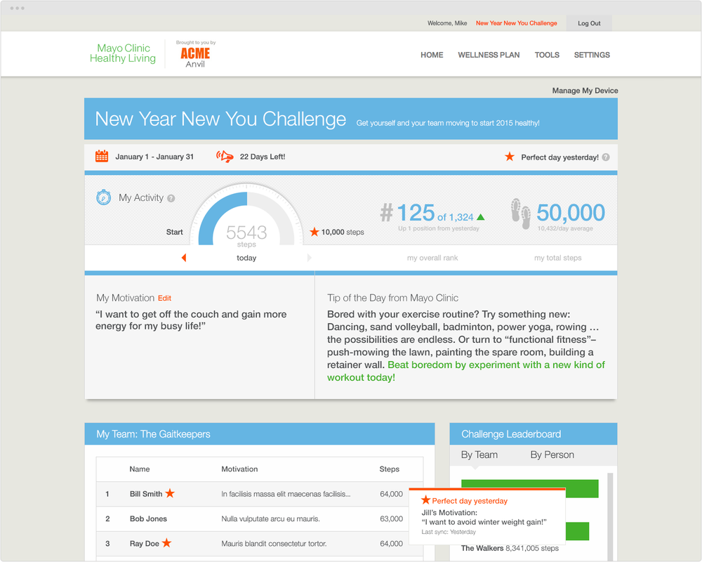 BRAND  EverydayHealth.com   PROJECT  Healthy Living  (Site access only open to co-branded company employees.)    WORK  UX Art Direction Visual Design Product Development   DESCRIPTION  Worked on enhancements toHealthy Living's co-branded sites includingNew Year, New You Challenge where users can track their performance and compete to win prizes.