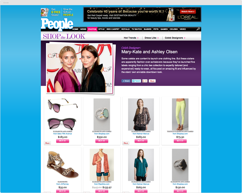 BRAND  People.com   PROJECT   StyleWatch ecommerce Shop the Look   WORK  UX Visual Design   DESCRIPTION  Increased product sales through design of new collection pages based on celebrity looks.