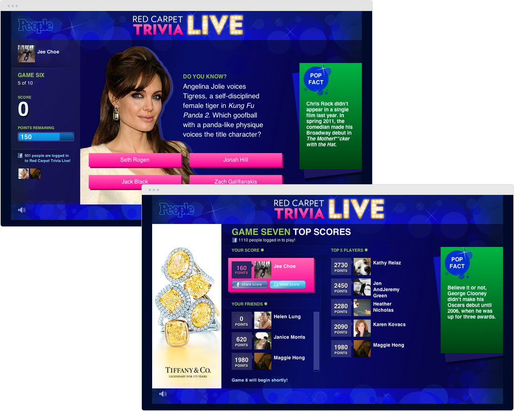 BRAND  People.com   PROJECT  Red Carpet Trivia Live   WORK  UX Visual Design   DESCRIPTION  Collaborated with team at People.com to rework live trivia game to include Facebook integration. Designednew look & feel, logo, and updated user interface.