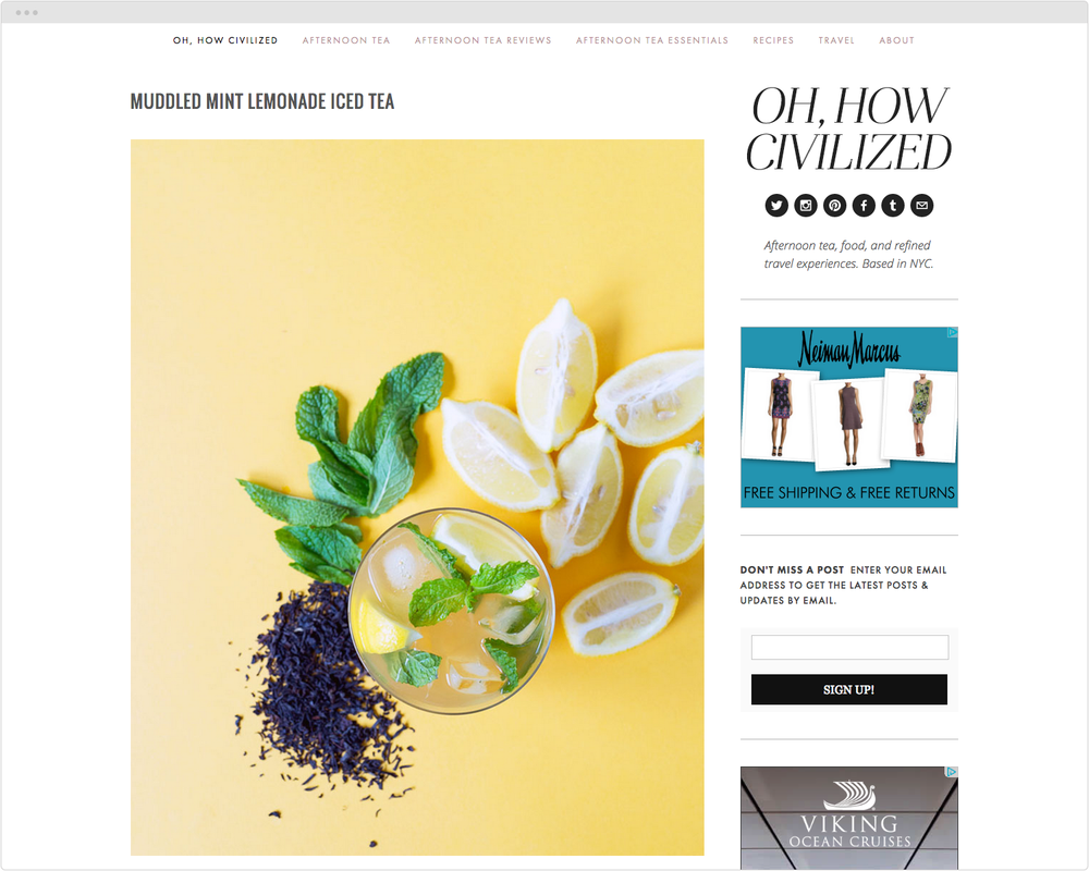BRAND  OhHowCivilized.com   PROJECT  Blog Design   WORK  UX Creative Direction Product Development Photography   DESCRIPTION  Custom design ofblog template and creation oforiginal content focused on food and travel.   ➭   OhHowCivilized.com