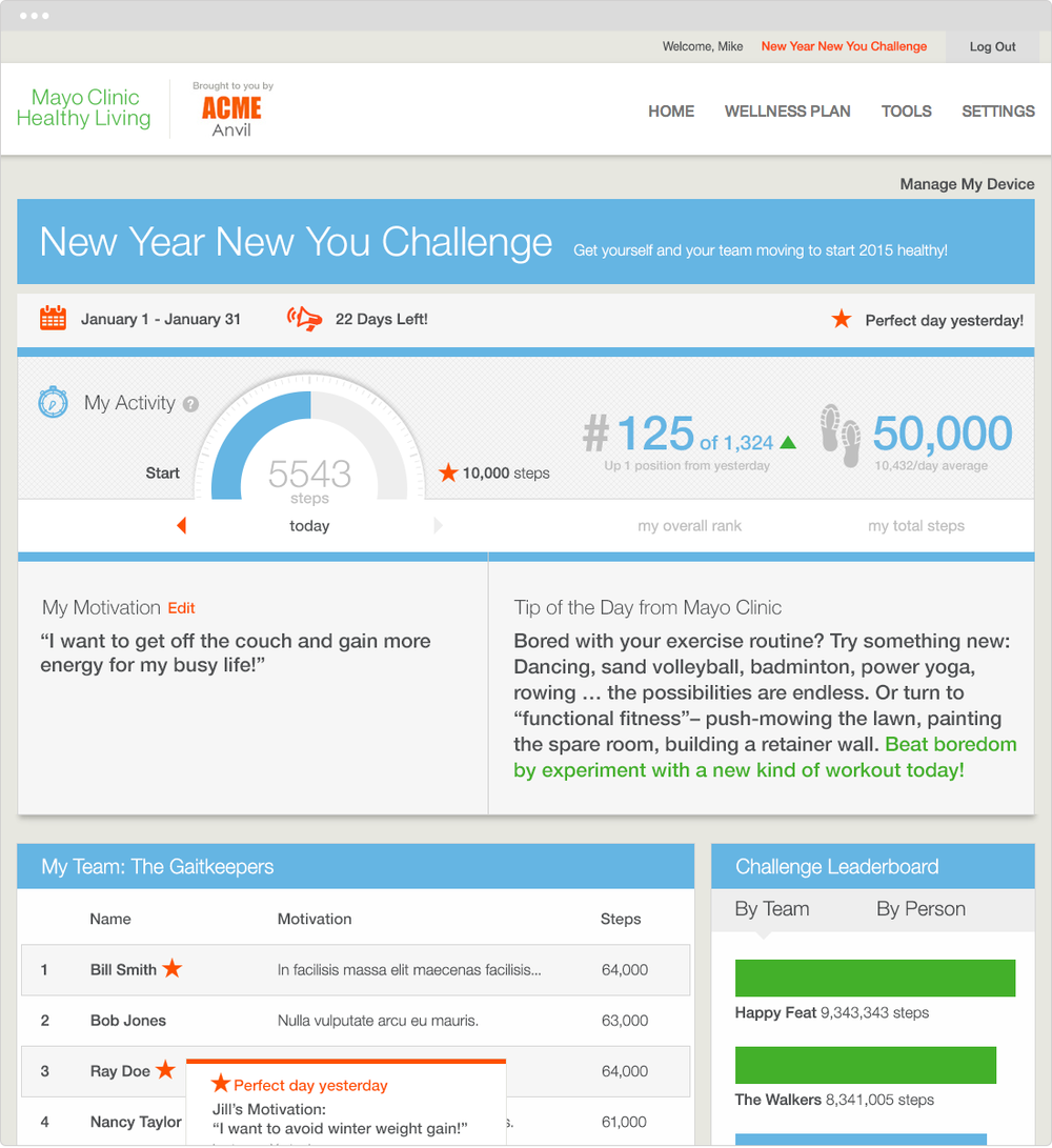 Healthy Living   PROJECT   New Year New You Challenge   WORK  UX Art Direction Visual Design Product Development   DESCRIPTION  Enhancements to Healthy Living's co-branded sites including New Year, New You Challenge where users can track their performance and compete to win prizes.