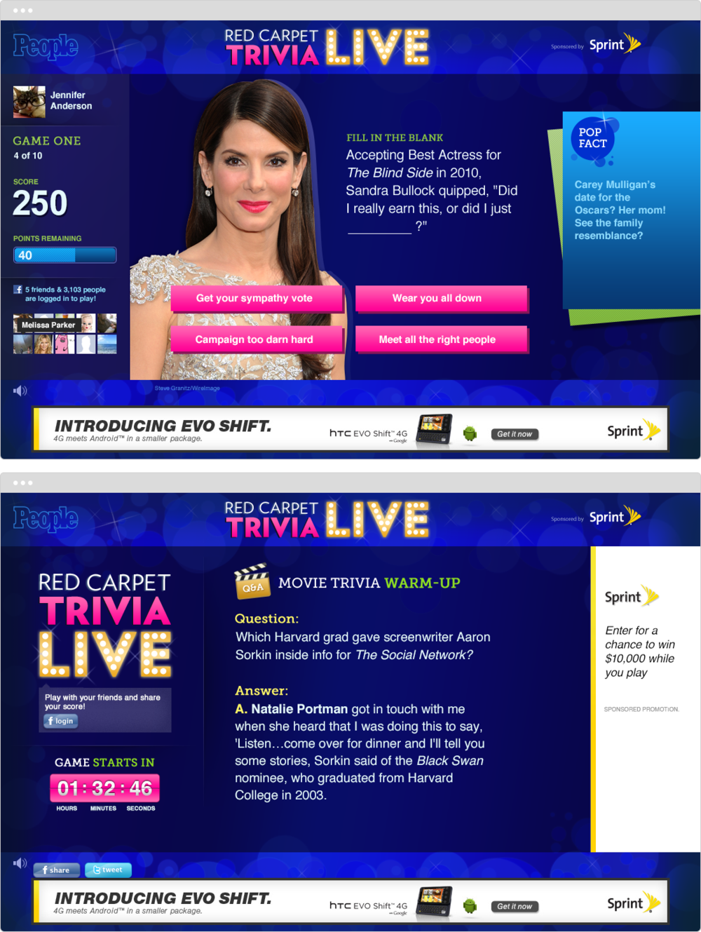 People    PROJECT   Red Carpet Trivia Live    WORK  UX Visual Design   DESCRIPTION  Reworked live trivia game to include Facebook integration. Designed new look & feel, logo, and updated user interface.