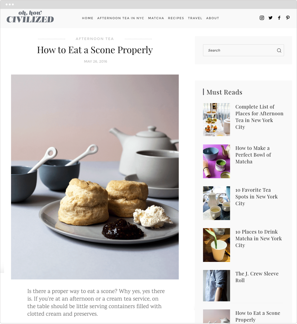 Oh, How Civilized   PROJECT   Blog Design   WORK  UX Creative Direction Product Development Photography   DESCRIPTION  Custom design of blog template and creation of original content focused on food and travel.   ➭  OhHowCivilized.com