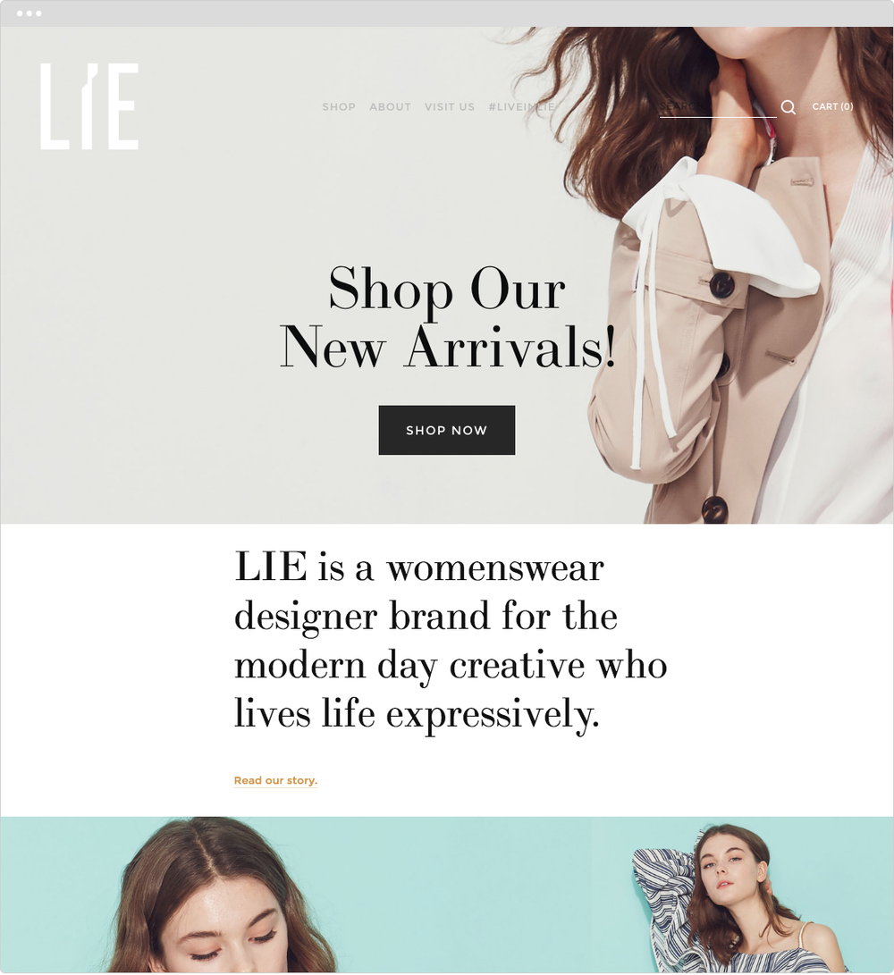 LIE   PROJECT   Ecommerce Strategy, Fashion   WORK  Digital Marketing Art Direction   DESCRIPTION  Developed digital marketing strategy for fashion brand. Hands-on work include creating ecommerce site, newsletter content creation, Facebook ads, and analyze metrics. Site has increased sales and brand awareness since launch.   ➭   LIEcollection.com