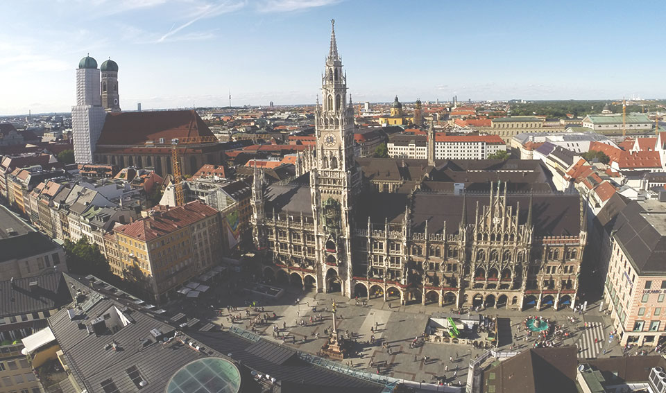 Marienplatz, vista do alto da torre da St. Peter Kirche