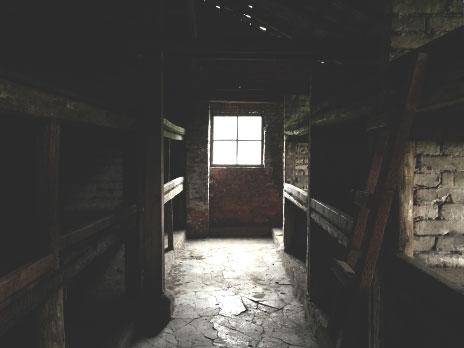 Alojamento onde dormiam os prisioneiros. Dentro de cada espaço dormiam em torno de 15 pessoas empilhadas, o que aumentava drasticamente a proliferação de doenças.