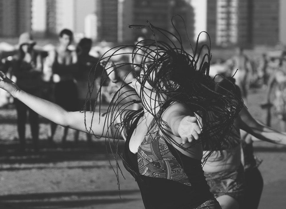 Grupo de dança na Playa Brava