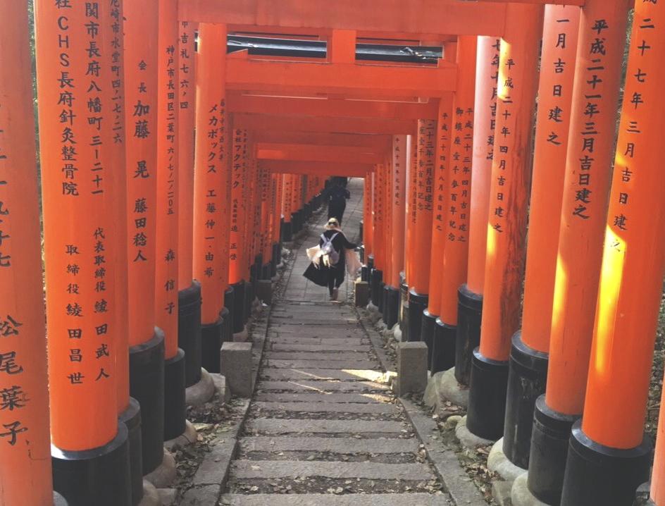 Um dos corredores de toriis do santuário Fushimi Inari-Taisha. Eles foram doados por empresas e grande parte das inscrições atrás (ou na frente) de cada um deles, éo nome da empresa doadora e a data que o torii foi doado.