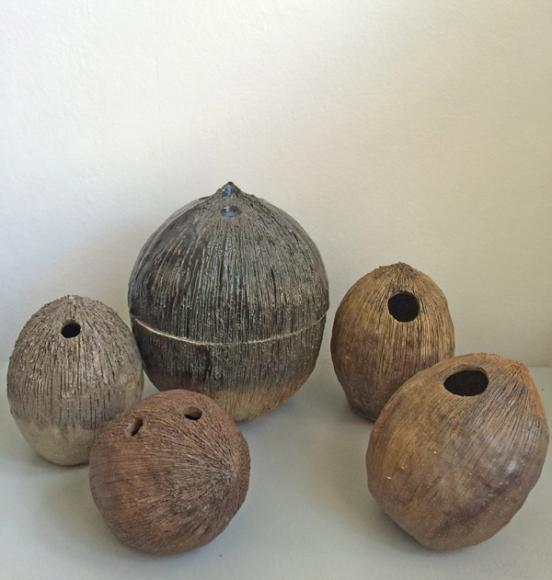 Coconut Sculpture Vase       Material:   Cerami Dimension:   Small: 11 x 11 x 15 cm Large: 17 x 17 x 22 cm   Price:    Large: 2,800 DKK / 380€  Small: 1,500 DKK / 200€   2015
