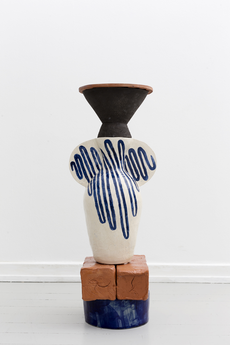 UNTITLED       Materials:   Earthenware, stoneware   Dimensions:   23 x 35 x 48 cm   2016    About:  From top to bottom. Round and blue base, two hollow packages of red clay(terra-cotta), sculpture vase with blue curvaceous line. Black vase or pedestal, terra-cotta plate with crack, repairs using Japanese technique.   Untitled  is a part of group show   'The Plinth Projects'   opening from 18th November 2016 to 21 January 2017 at Etage Projects.     Price upon request