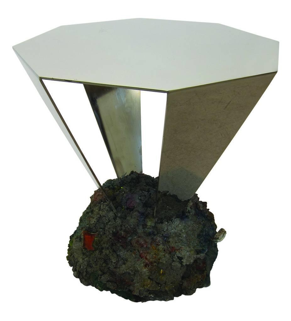 Diamond Table - Concrete, Chrome, Mirrored Steel 201445 x 45 48 cmCurrent Production Price upon request