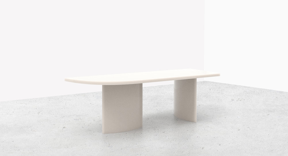 SOAP Table  - by Sabine Marcelis Materials: Semi Opaque Polyester (Resin)Dimensions: 100 x 250 x 75 cm2018