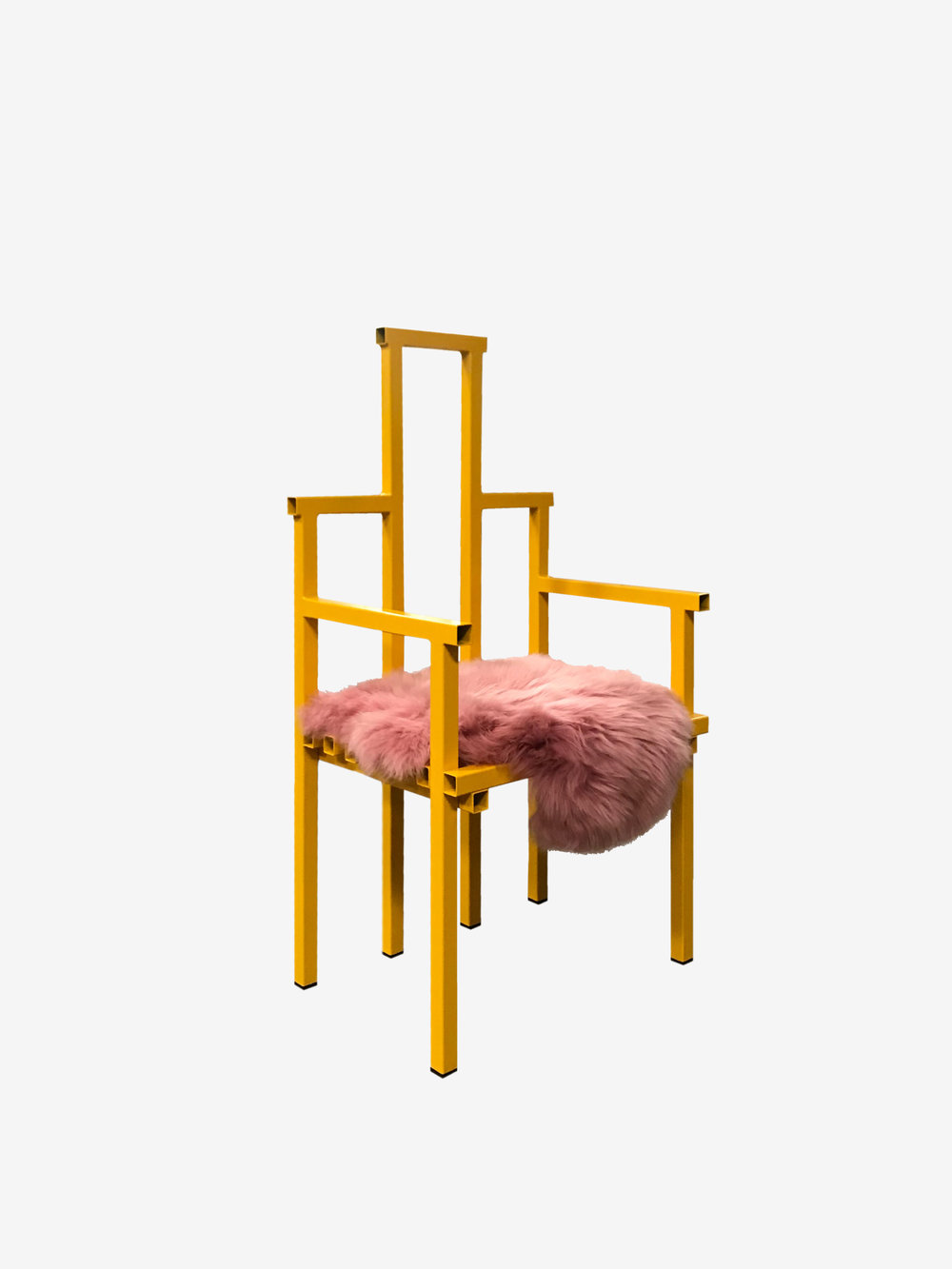 PEACH MELBA CHAIR - by Fredrik Paulsen Materials: Powder Coated Steel, Sheep Skin Dimensions: H: 110 x D: 46 cm x W: 56 cm,Seat Height: 43 cm 2018 Price on request