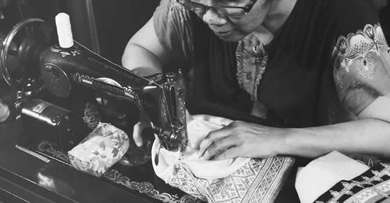 My aunt Atiet working on a LARAS bag