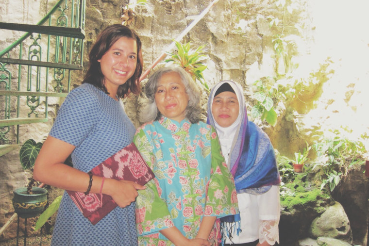 From right to left: my aunt Atiet, my mom and me in Indonesia.
