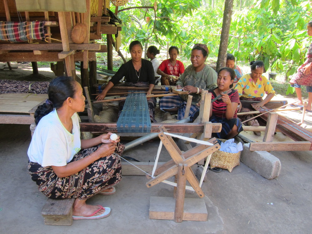 Alfonsa Horeng (middle) and the weavers of Lepo Lorun Womens Weaver Cooperation in Flores. Learn more about these lovely women