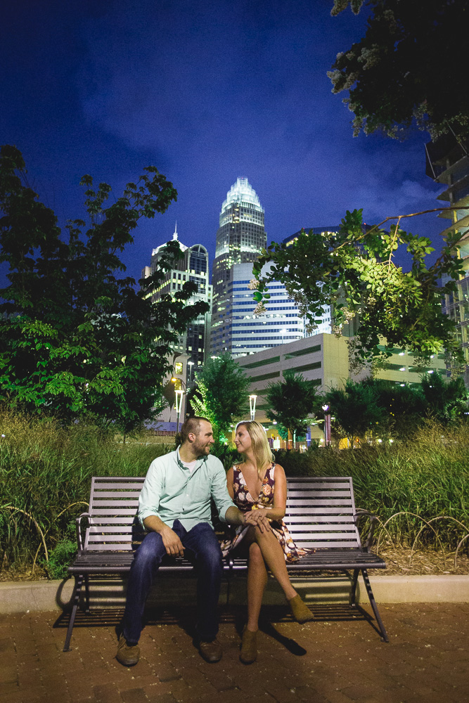 This epic skyline engagement photo was captured in downtown Charlotte's beautiful Romare Bearden Park.