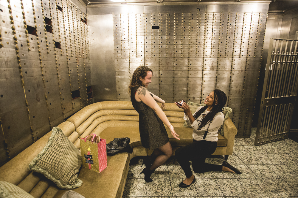 April surprises her girl friend by propsoing to her inside the 21C Hotel bank vault.