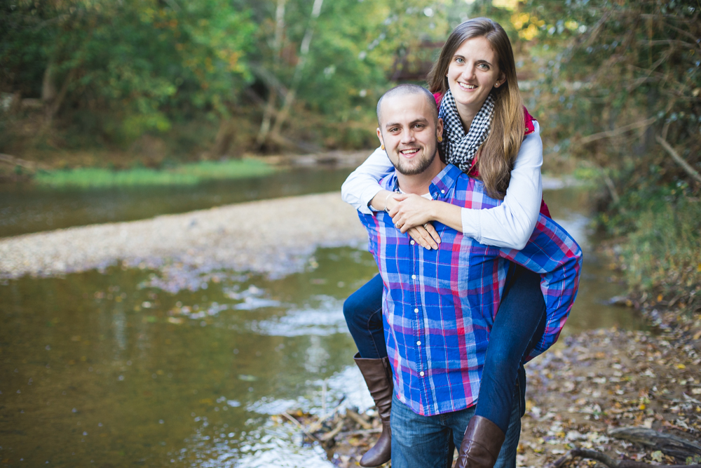 Fun fall engagement session at Durham's Eno State Park.