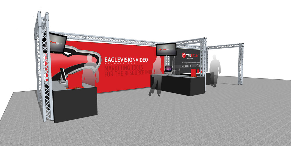 As an example, here is a conceptual design of our own Eagle Vision & Tru Security display booths using trussing and LED displays. These images are an example of how we can visualize your trade show booth.