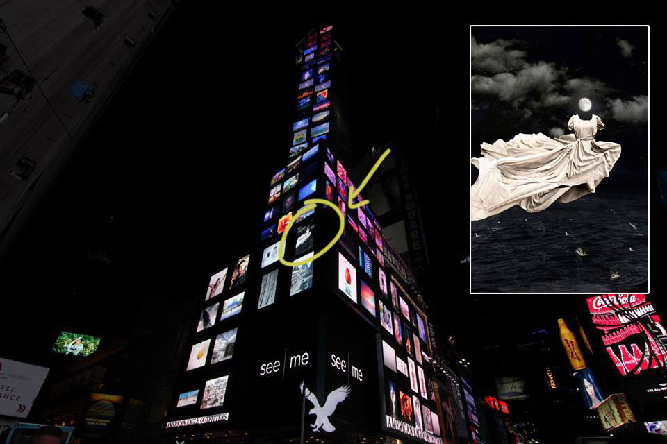 """The Ghost"" displayed in Times Square."