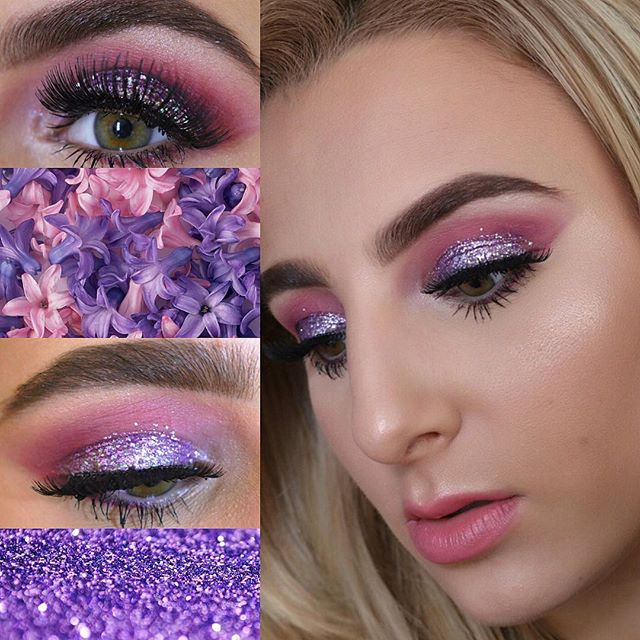 We are starting off our Monday with this purple and pink glittery look! 💁🏼💜💕by @cabrannie product details below: ••EYES•• Color Base eye Primer, shadow: French Vanilla to set the lid, shadows in crease: Magnolia + Punkish Purple. Applied Uglue glitter adhesive gel and mixed Urock Glitter: Diamonds are Forever + Topaz with love. Urave shimmer: Light Show to highlight Brow bone and inner corner and finished with Tat2Lash Mascara. ••BROWS•• Brow Pow! brow powder: Java and finished with Brow Wax! ••FACE•• Extreme Creme Foundation: Creme Brûlée + Caramel Creme, 2 in 1 Foundation: Honey Glow, both 2 Contour U Creme + Powder kits, Blush: Wine Cellar and highlighted with Urave shimmer pigment: Light Show ••LIPS•• Lipstick: Cat Fight #Tat2uMakeup #TAT2U #undiscovered_muas
