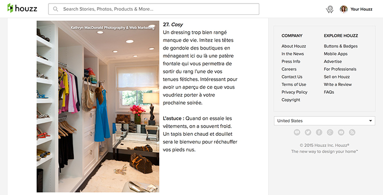 One of the dream dressing rooms featured on French Houzz.