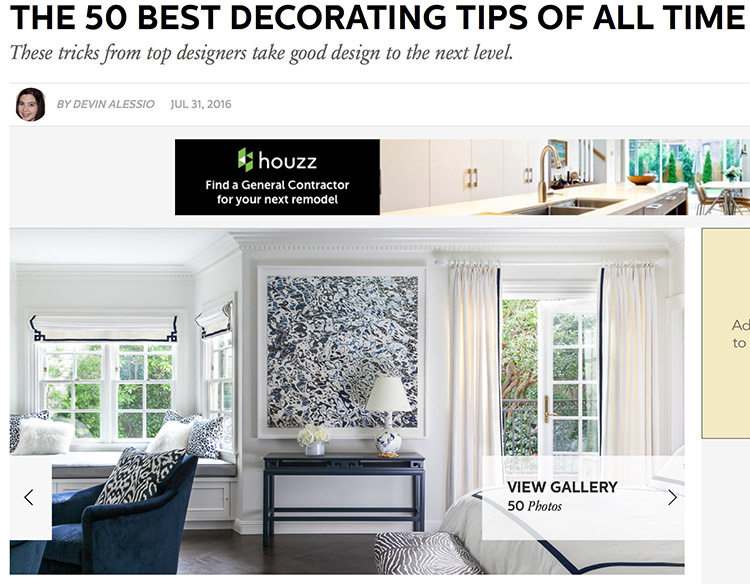 Recent press coverage in Elle Decor online of a Grant K. Gibson interior design project in SF.