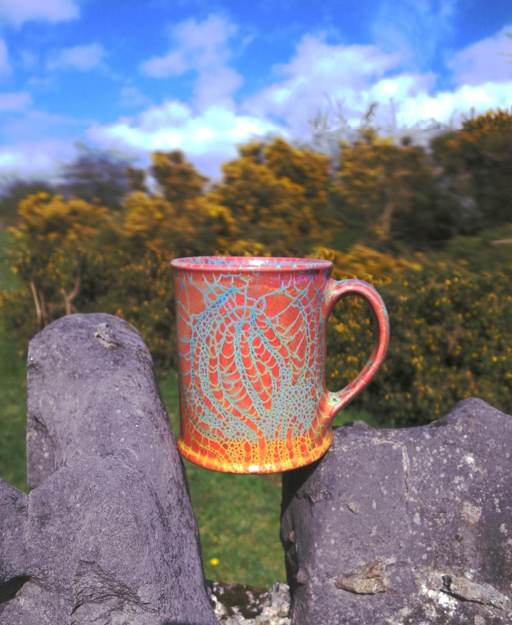 Dark Ochre Flames Mug