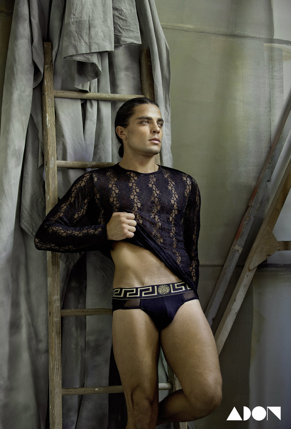 Lace mesh shirt and briefs: Versace