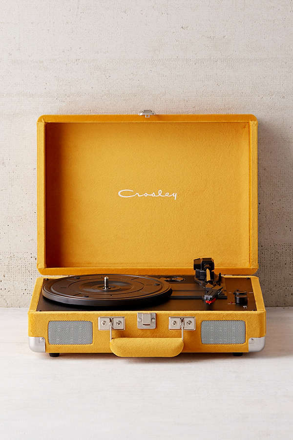 Portable vintage-inspired turntable, totally exclusive to UO in Limited Edition velvet, from the experts at Crosley. This record player is perfect for playing your favorite vinyl LPs, and comes complete with everything you need for the ultimate vinyl experience. To play outside of the US, please pair with a power converter. UO Exclusive.