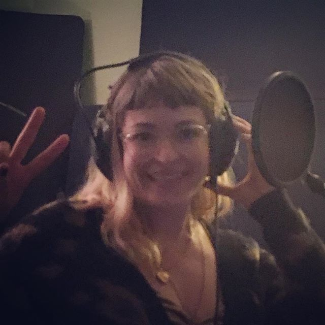 Julia doing vocals! Finished the backing track! Just adding the finishing touches!