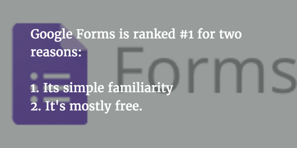 Google Forms is our #1 recommended website to create surveys and forms.