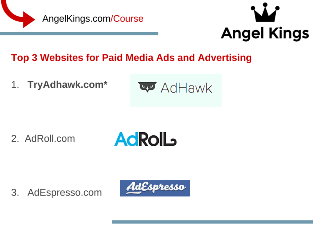 What are the top 3 websites for paid media ads and advertising?