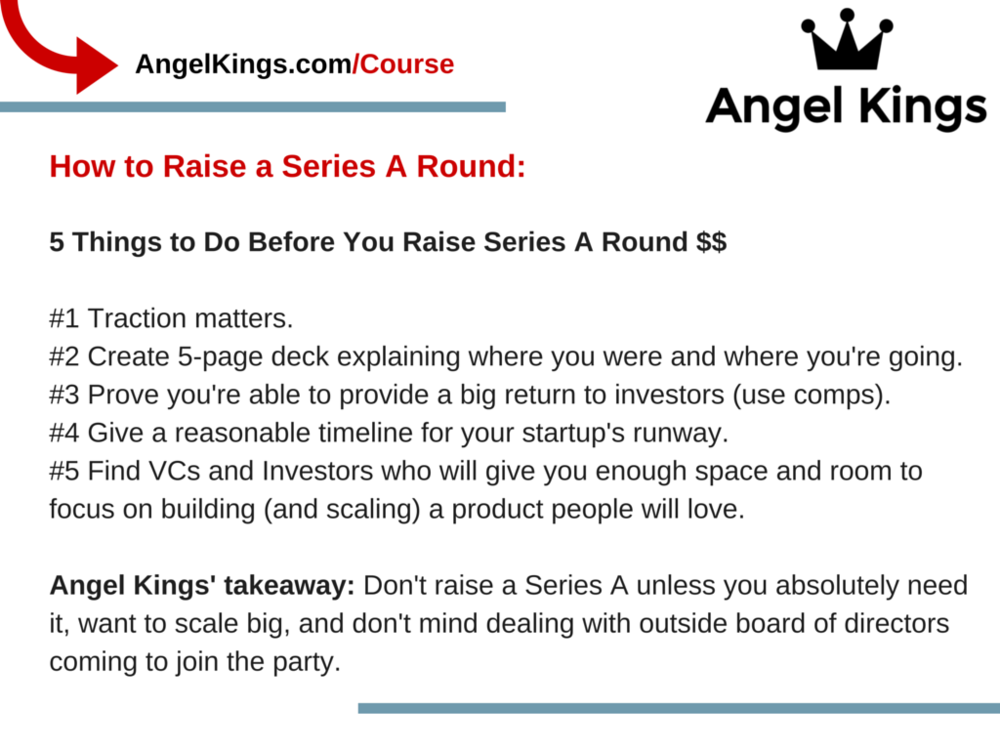 What are the important takeaways for raising a Series A Round?