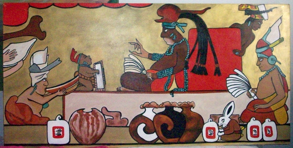 Mayan artwork. In the forefront the cacao vases filled with cacao drinks bubbling over, and cacao beans in bags.