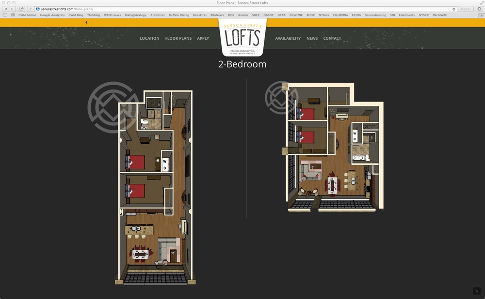 Seneca Street Lofts Floorplan 2 Bedroom