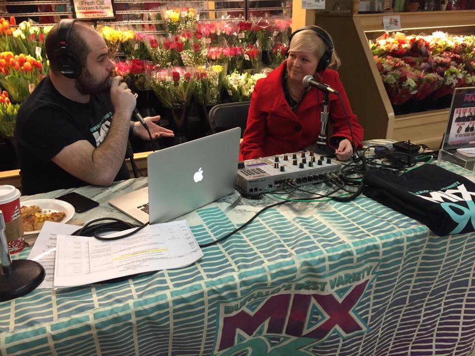 Chatting with Mix96 about our inspiration for our replica Silo City CANstruction display!