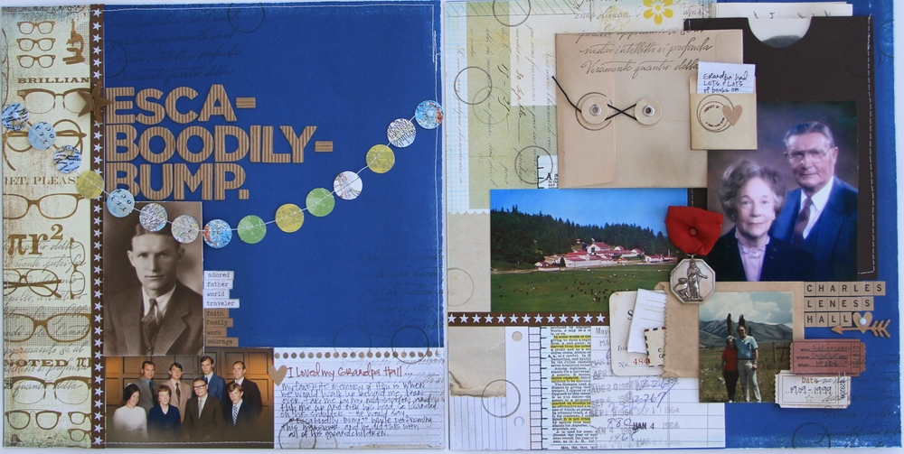 A scrapbook layout that documents my Grandpa Hall's life and also captures some of my personal memories of him.