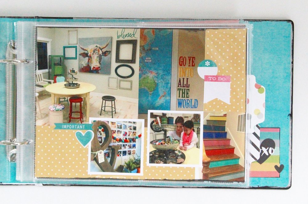 "The album I used was designed by Heidi Swapp—again, hard to come by—but I think you could use this album that is 6""x9"" and comes with a variety of pocket pages. I used each kind of pocket page to create a different section of my story. In the first section, Our Home, I created collages of the interior of our home/rooms using the full 9""x6"" protectors."
