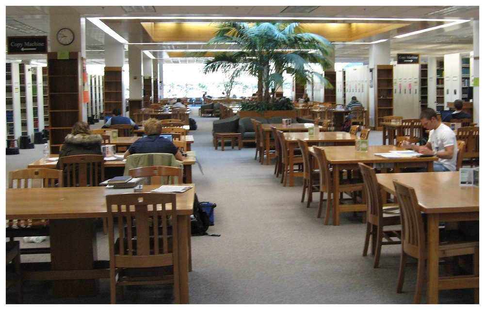 Harold B. Lee Library. This photo is more current than my memory, but I bet those are the same tables!