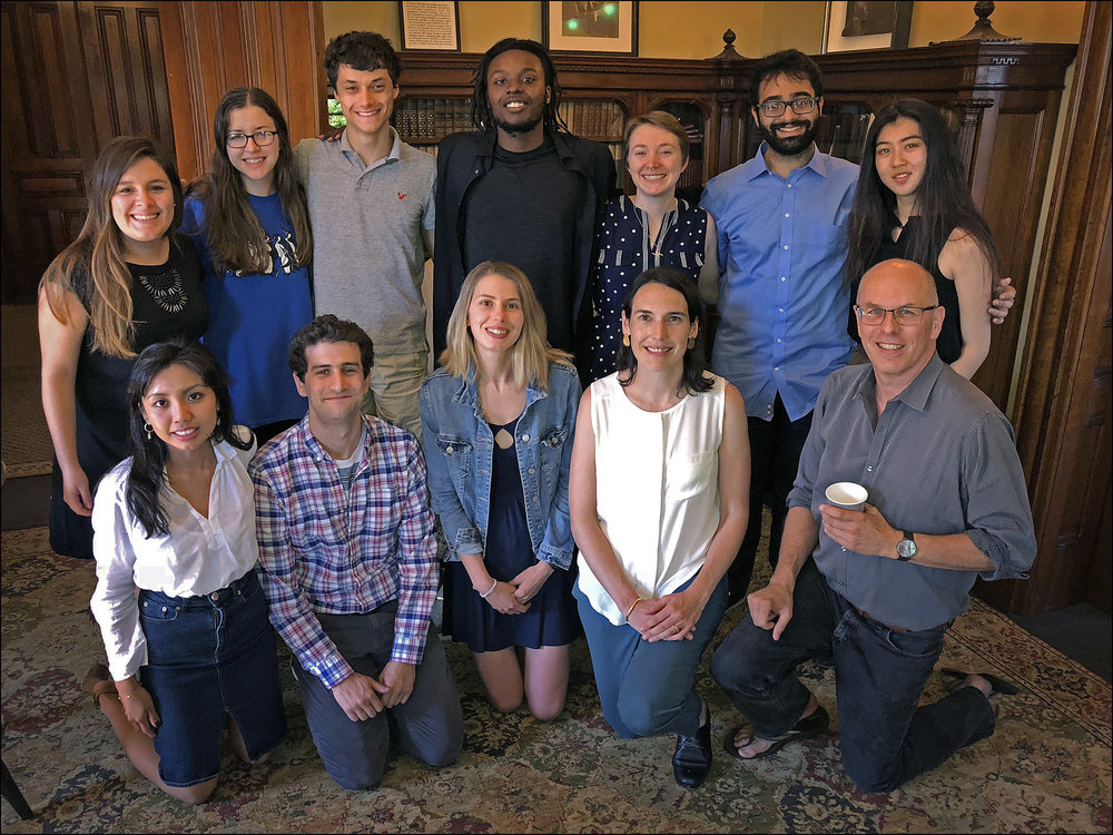 Top row, left to right: Gisela Reyes, Stephanie van Fossen, James McIntyre, Miles Iton, Morgan Flanagan-Folcarelli, Abdul Ansari, Felicia Jing. Botton row, left to right: Cathlene Centeno, Zach Barnett (co-director), Paskalina Bourbon, Nina Emery (co-director), Dave Estlund (Instructor) Not pictured: Risa Takenaka.