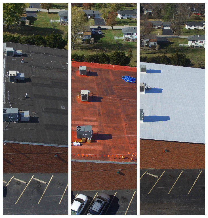West County Lanes - The existing roof was a Mod-Bit over 3 ply roofing system that had been patched several times. The decking was Tectum system. The end product was a built up roof coating system that made the roof look brand new and is a white product to reflect the UV rays.
