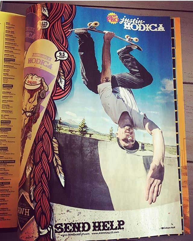 maybe you spotted our collabo advert with @awhsktbrddistr in the Oct issue of @thrashermag welcoming @jmod to the pro ranks... #SENDxHELP