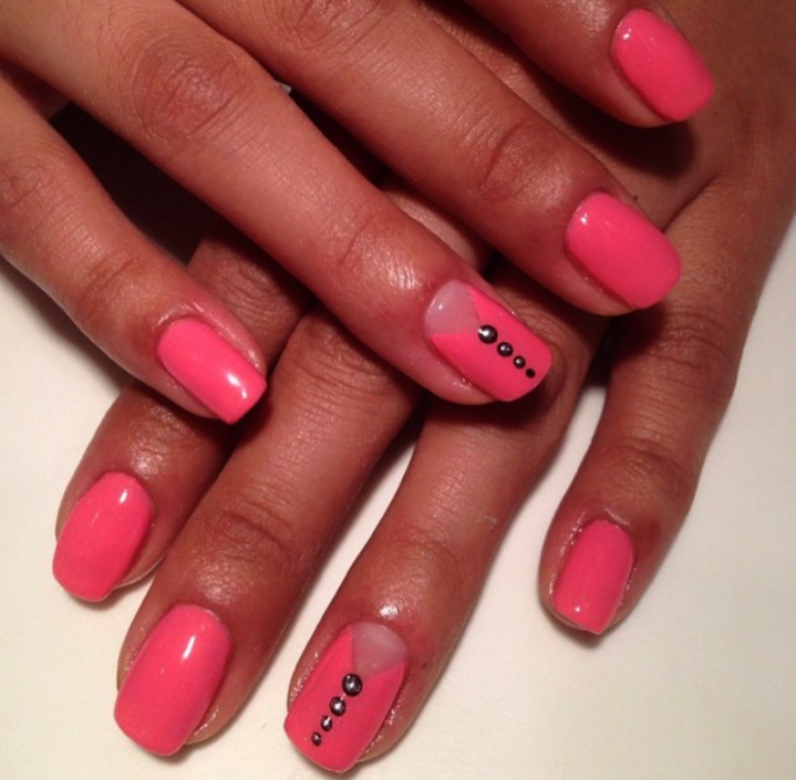 Hot Pink with Silver Studs